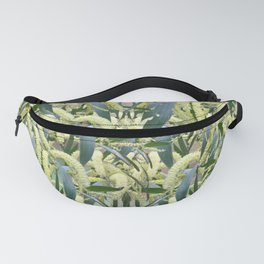 massed wattle blooms on textured background Fanny Pack
