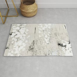 Grey and White Abstract with Black Texture: Scribble Series 02 Rug