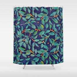 Leaves + Berries in Navy Blue, Teal & Tangerine Shower Curtain