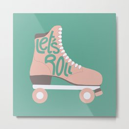 Retro Let's Roll Skate- Baby Pink and Turquoise  Metal Print