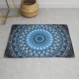 Digital mandala with light blue dominant. Rug