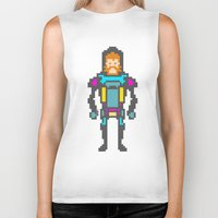 8bit Biker Tanks featuring 8bit beard! by Dario Di Donato