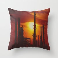 industrial Throw Pillows featuring Industrial... in Red by ChristyMichellePloch.com