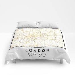 LONDON ENGLAND CITY STREET MAP ART Comforters