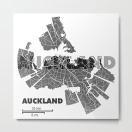 Auckland Map Metal Print