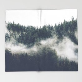 Abstract Forest Fog Throw Blanket