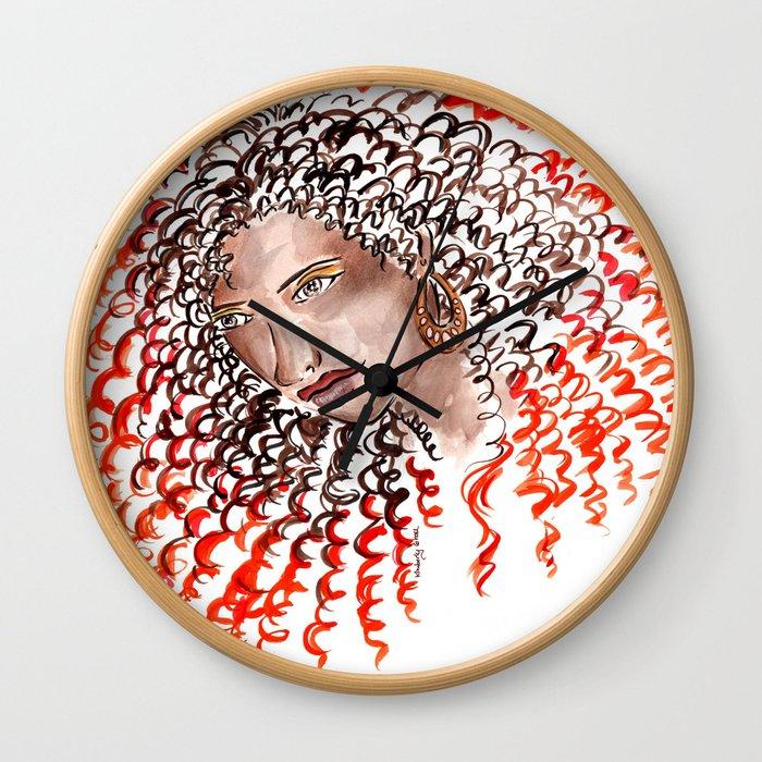 Fiery Curls Wall Clock