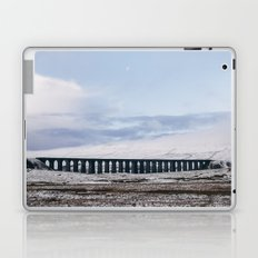 Snow and Moon over the Ribblehead Viaduct. Settle to Carlisle Railway, North Yorkshire, UK. Laptop & iPad Skin