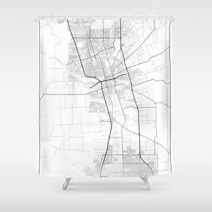 Minimal City Maps - Map Of Stockton, California, United States Shower  Curtain by valsymot