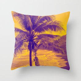 Golden Black Sand Beaches and Palm trees Throw Pillow