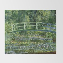 Claude Monet's Water Lilies and Japanese Bridge Throw Blanket
