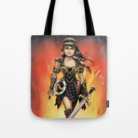 xena Tote Bags featuring Xena by Mr. Chuckles