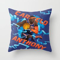 nba Throw Pillows featuring NBA Stars: Carmelo Anthony by Akyanyme