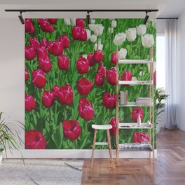 Vibrant Red And White Floral - Tulip Festival Wall Mural