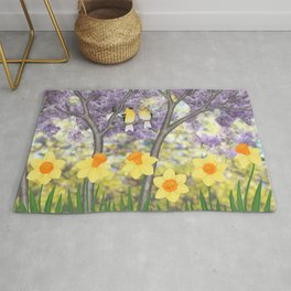 goldfinches, lilacs, & daffodils Rug