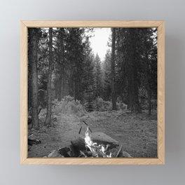 Backpacking Camp Fire B&W Framed Mini Art Print