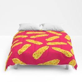 Funny Cute Hand Drawn Corn on the Cob on Neon PInk Comforters