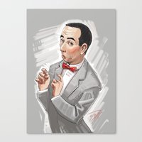 pee wee Canvas Prints featuring Pee Wee Herman by Michael Jared DiMotta Illustrations