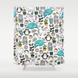Girly Icon Art, Narwhals, Pandas, Llamas, Unicorns, Penguins and Baby Hippos, Emoji Tween Girl Art Shower Curtain