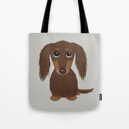 Longhaired Chocolate Dachshund Tote Bag