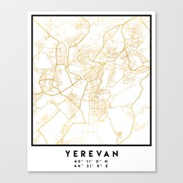 YEREVAN ARMENIA CITY STREET MAP ART Canvas Print
