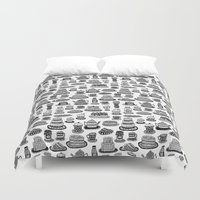 macaroon Duvet Covers featuring Vintage Tea Party Pattern by Stacey Muir