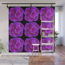 PURPLE HOLLYHOCK FLOWERS ON BLACK ABSTRACT Wall Mural
