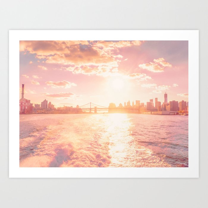 New York City Skyline Sunset Art Print