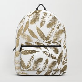 Modern chic faux gold foil feathers pattern Backpack