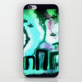 Starry Night at Stonehenge with Bats & A Black Cat iPhone Skin