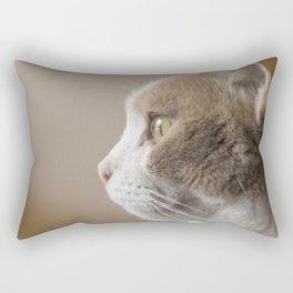 White Cat with Butterscotch Patches Profile Portrait Rectangular Pillow