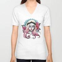 dia de los muertos V-neck T-shirts featuring ¡Dia de los Muertos! by Tati Ferrigno