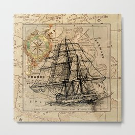 VINTAGE EUROPEAN MAP & SHIP Metal Print
