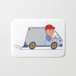Delivery Man Driving Truck Van Cartoon Bath Mat