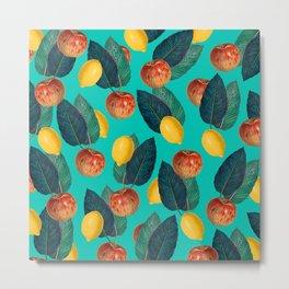 Apples And Lemons Teal Metal Print