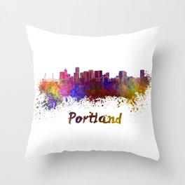 Portland skyline in watercolor Throw Pillow