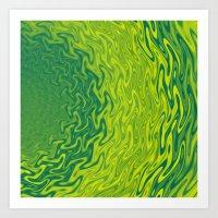 Ripples Fractal in Greens Art Print