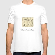 Parisian French Script Mens Fitted Tee MEDIUM White