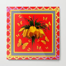 DECORATIVE RED YELLOW FRAMED BUTTERFLIES CROWN IMPERIAL Metal Print