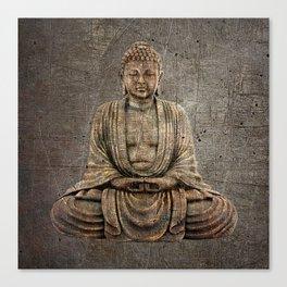Sitting Buddha On Distressed Metal Background Canvas Print