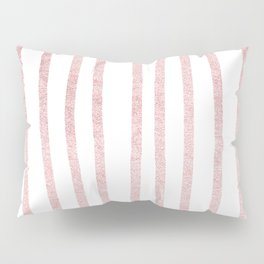 Simply Drawn Vertical Stripes in Rose Gold Sunset Pillow Sham
