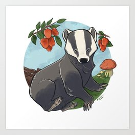 Autumnal Badger Art Print