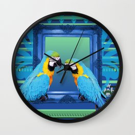 Blue Macaw with frame Wall Clock