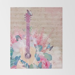 Floral Guitar Throw Blanket