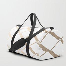 Luxe Gold Diamond Lattice Pattern on White Duffle Bag