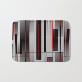Off the Grid - Abstract - Gray, Black, Red Bath Mat
