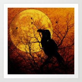 Harvest Moon Raven Art Print