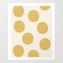 Yellow Organic Circles Art Print