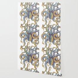 Octopus Tentacles Steel Blue Watercolor Art Wallpaper