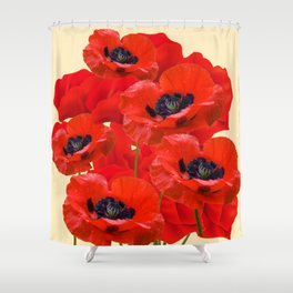RED ORIENTAL POPPIES ON CREAM COLOR Shower Curtain